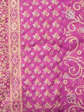 Jodha mharani Saree pinkrose/ burgundy