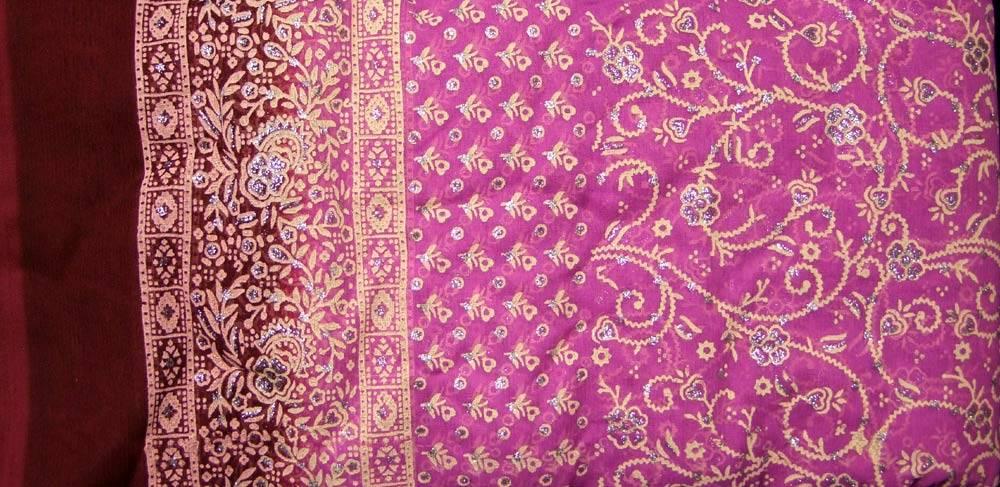 Jodha mharani Sari pinkroasa/ weinrot