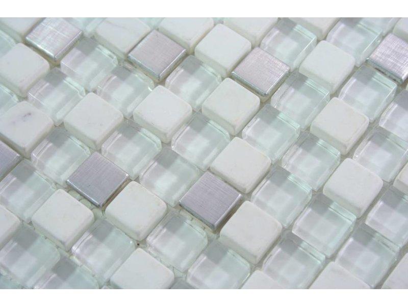 Mosaikfliesen amoru glas edelstahl naturstein silber wei mosaic outlet - Mosaikfliesen silber ...