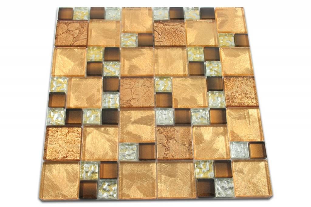 Glasmosaik Braun Gold : GLASMOSAIK FLIESEN - Commonwealth - gold / braun / silber - Mosaic ...