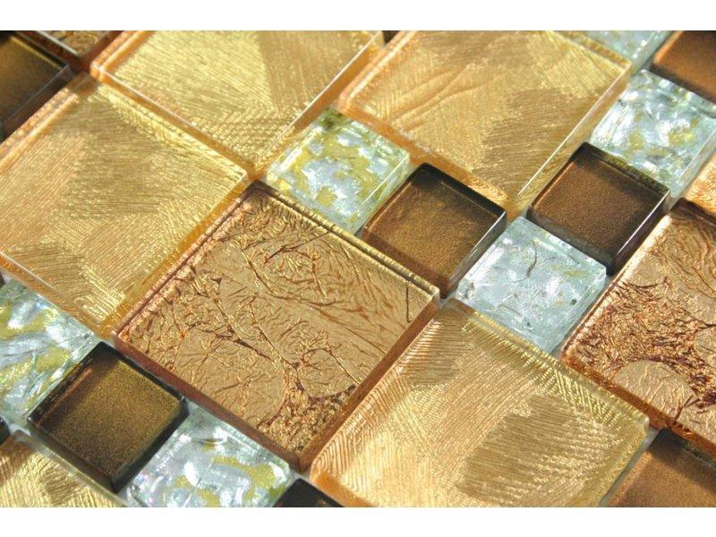 Glasmosaik fliesen commonwealth gold braun silber for Glasmosaik fliesen