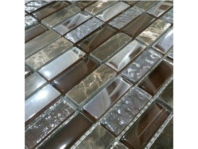Mosaikfliesen dublin glas stein braun silber mosaic outlet - Mosaikfliesen silber ...