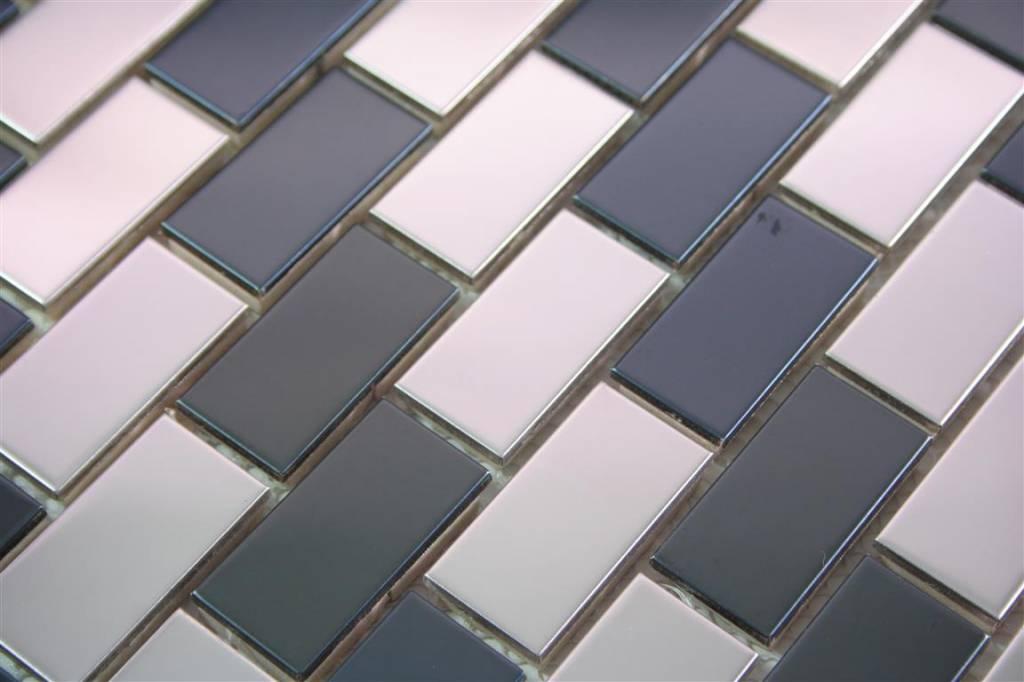 Edelstahl mosaikfliesen genua silber schwarz mosaic outlet - Mosaikfliesen silber ...