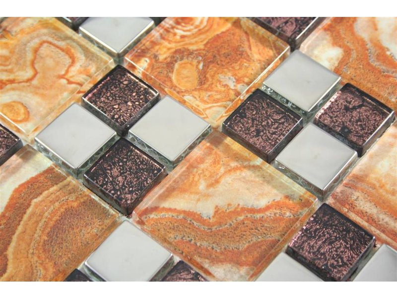 GLASMOSAIK FLIESEN - Kumasi - beige / braun / silber - Mosaic Outlet