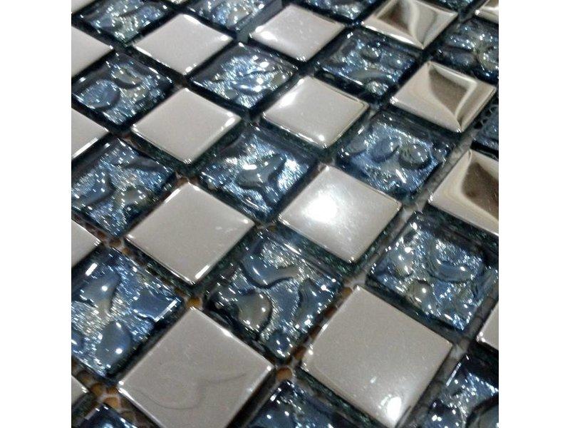 GLASMOSAIK FLIESEN Marbella Glas Edelstahll Blau Silber - Fliesen glasoptik