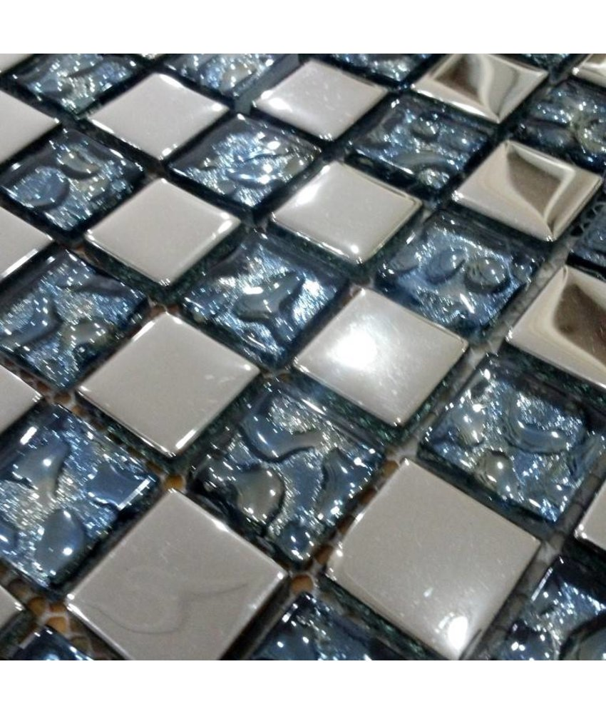 GLASMOSAIK FLIESEN - Marbella - Glas / Edelstahll - blau / silber