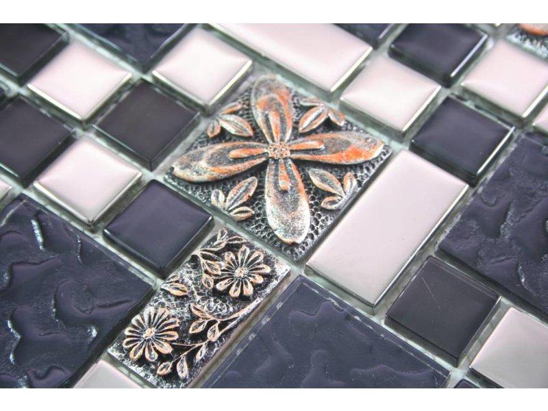 Mosaikfliesen marrakesch glas keramik schwarz silber kupfer mosaic outlet - Mosaikfliesen silber ...