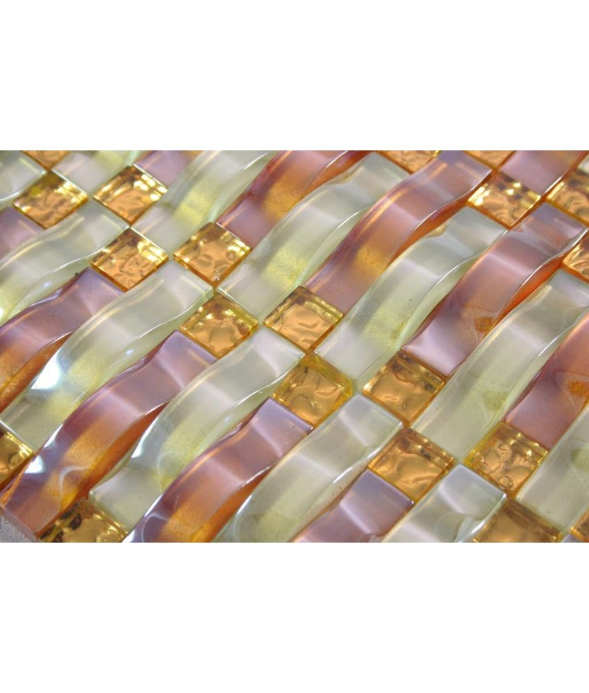 Ansehen GLASMOSAIK FLIESEN   Marseille   Beige / Kupfer / Gold
