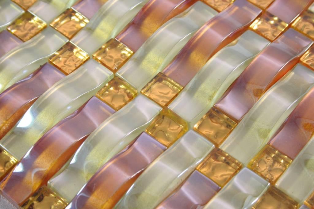 Glasmosaik fliesen marseille beige kupfer gold for Glasmosaik fliesen