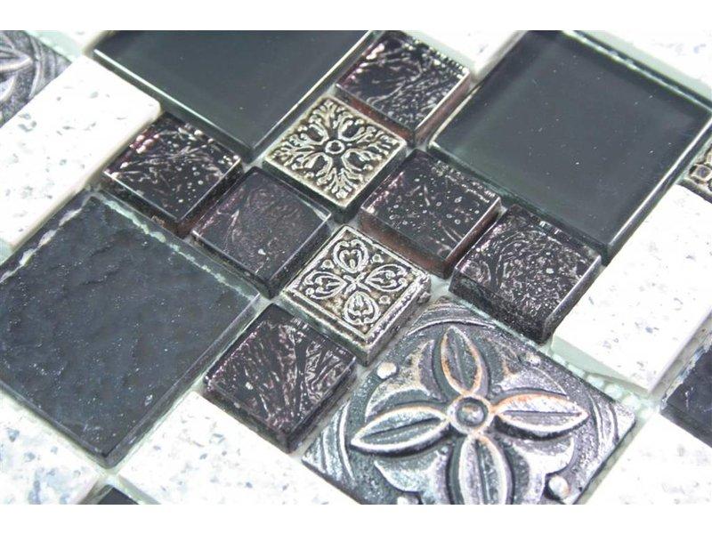 Mosaikfliesen stein  MOSAIKFLIESEN - Misrata - Glas / Stein / Keramik - schwarz / weiss ...