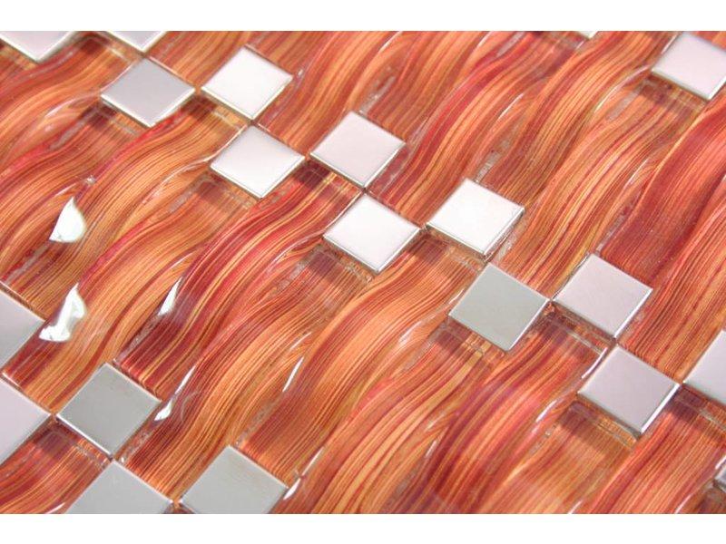 Mosaikfliesen palermo glas edelstahl orange - Mosaikfliesen silber ...