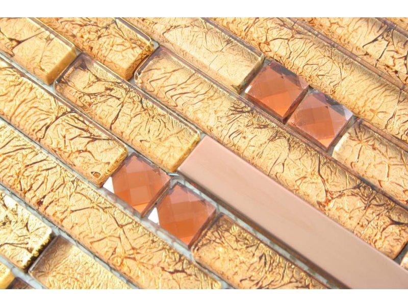 MOSAIKFLIESEN - Rio - Glas / Edelstahl - gold / braun / bronze ...