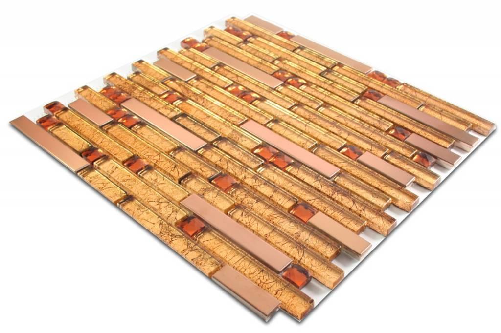 MOSAIKFLIESEN Rio Glas Edelstahl Gold Braun Bronze - Mosaik fliesen braun gold