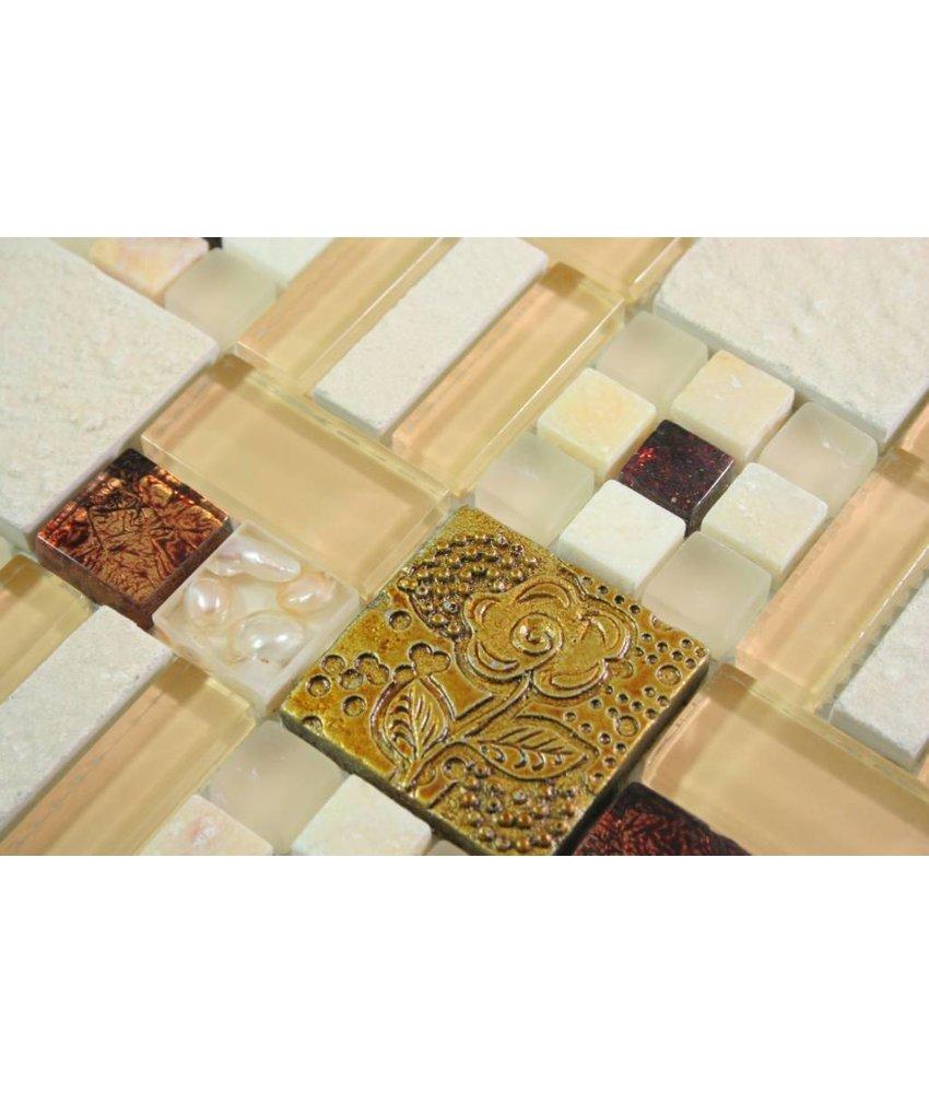 MOSAIKFLIESEN - Sanam - Glas / Stein / Keramik / Muschel - gold / beige / braun