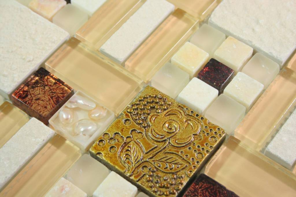 Mosaikfliesen stein  MOSAIKFLIESEN - Sanam - Glas / Stein / Keramik / Muschel - gold ...