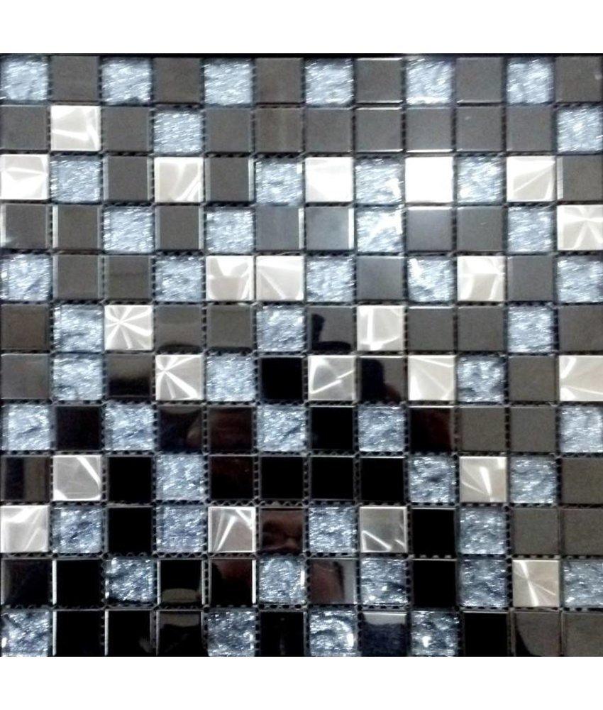 Mosaikfliesen im mix mit glas metall muschel und keramik mosaic outlet - Mosaikfliesen silber ...
