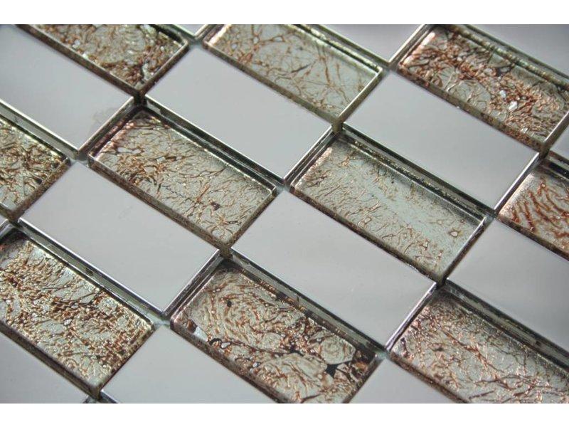 Mosaikfliesen stettin glas edelstahl braun silber mosaic outlet - Mosaikfliesen silber ...