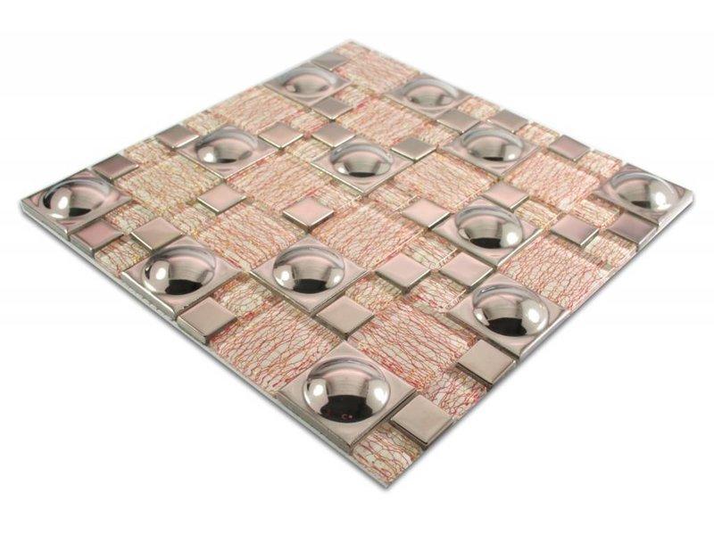 Mosaikfliesen verona glas keramik wei rot silber mosaic outlet - Mosaikfliesen silber ...