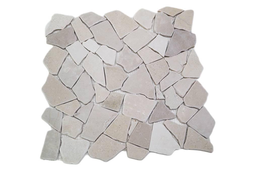 B rwolf natursteinfliesen rm 0008 crush creme mosaic outlet for Wandfliesen bauhaus