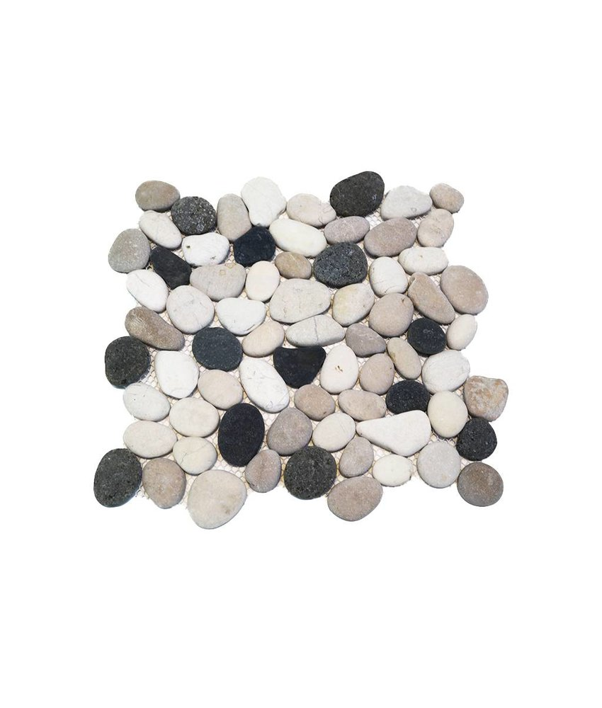 BÄRWOLF Natursteinfliesen PM-0006 Pebble black spotted mix