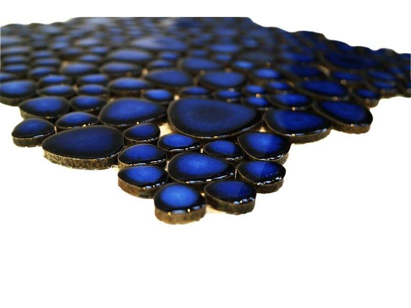 BÄRWOLF Keramik Mosaikfliesen KIESEL-80 Ceramic Pebble cobalt blue