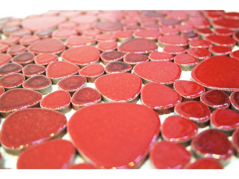 BÄRWOLF Keramik Mosaikfliesen KIESEL-560 Ceramic Pebble ruby red