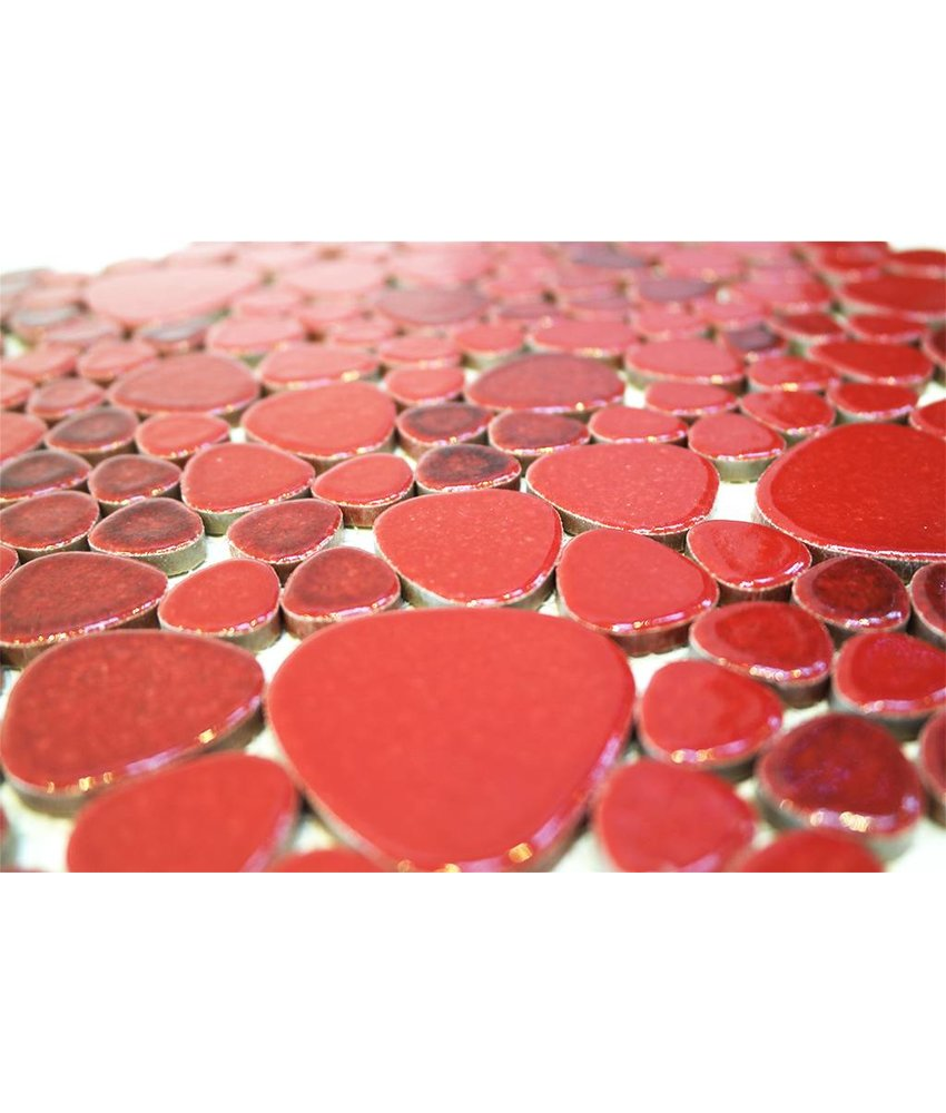 Keramik Mosaikfliesen KIESEL-560 Ceramic Pebble ruby red