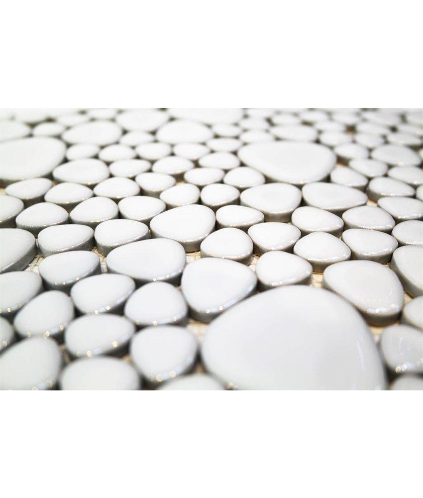 Keramik Mosaikfliesen KIESEL-250 Ceramic Pebble lucent white