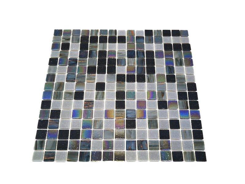 BÄRWOLF Glasmosaik-Fliesen GL-K09 black marmo mix
