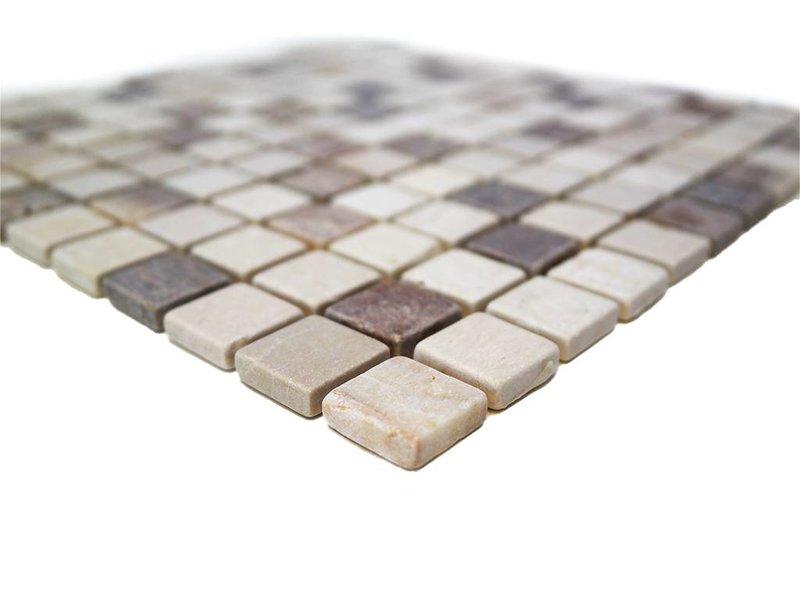 BÄRWOLF Naturstein Mosaikfliesen CM-7108 botticino/brown mix