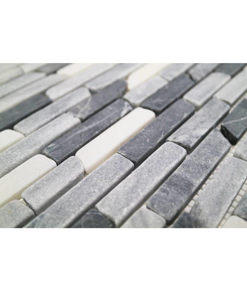 Naturstein Mosaikfliesen CM-7103 nero marq/white/grey