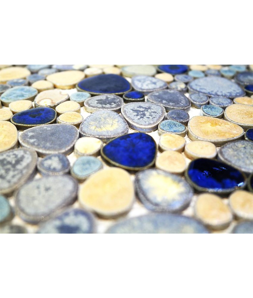 Keramik Mosaikfliesen KIESEL-3780 Ceramic Pebble blue gold mix