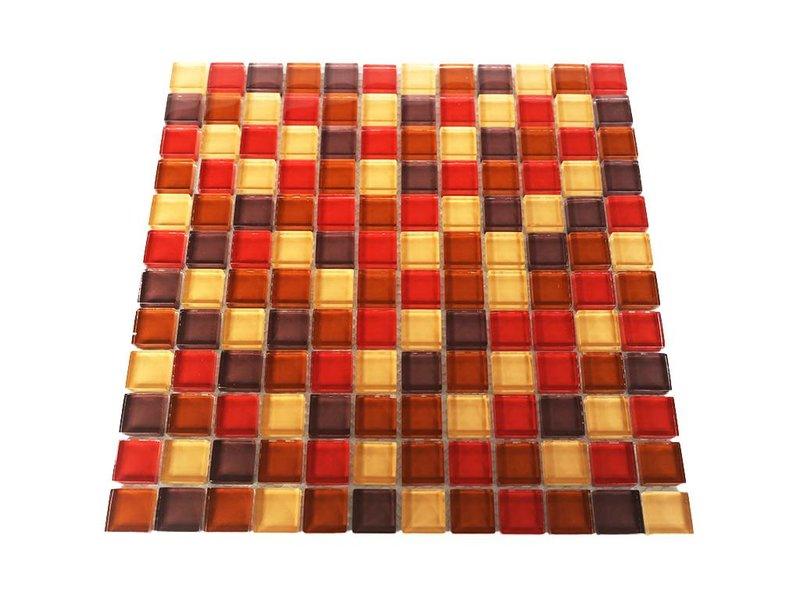 GLASMOSAIK FLIESEN - rot / beige / braun mix - G004 - Mosaic Outlet