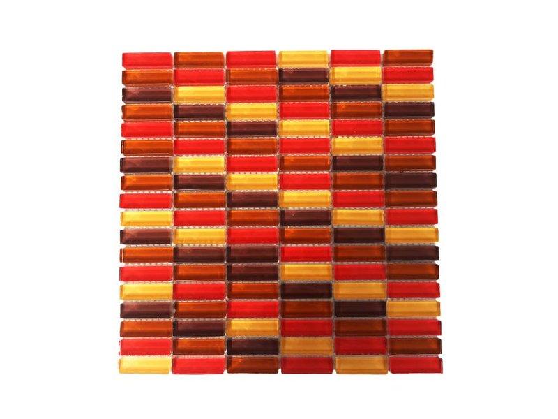 GLASMOSAIK FLIESEN - rot / beige / braun mix - G034 - Mosaic Outlet