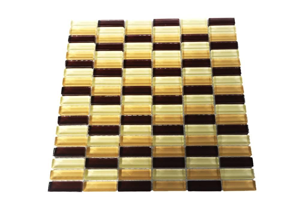 GLASMOSAIK FLIESEN - braun / beige mix - G036 - Mosaic Outlet