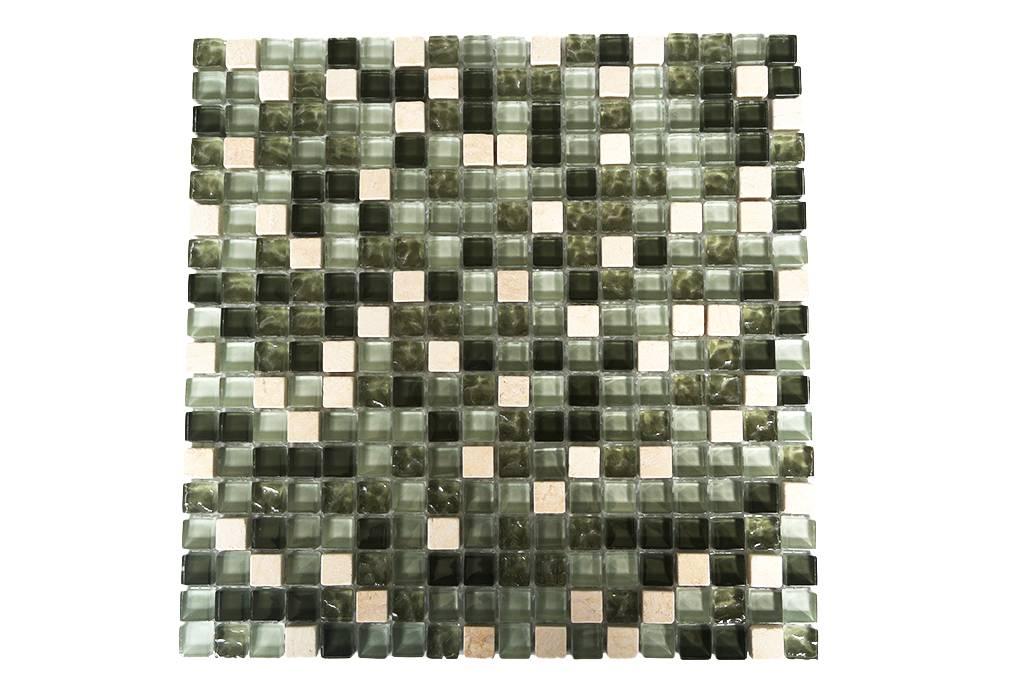 MOSAIKFLIESEN Glas Naturstein Grün Mix G Mosaic Outlet - Mosaik fliesen 5x5cm