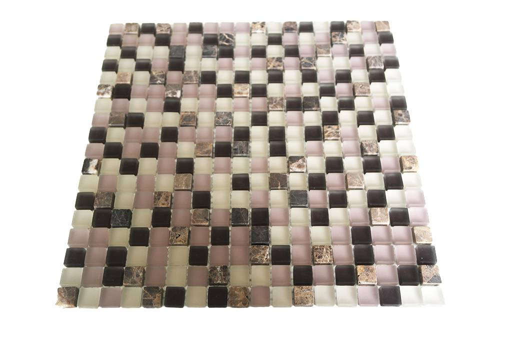 Mosaikfliesen Glas Naturstein Weiss Rosa Braun Mix G104