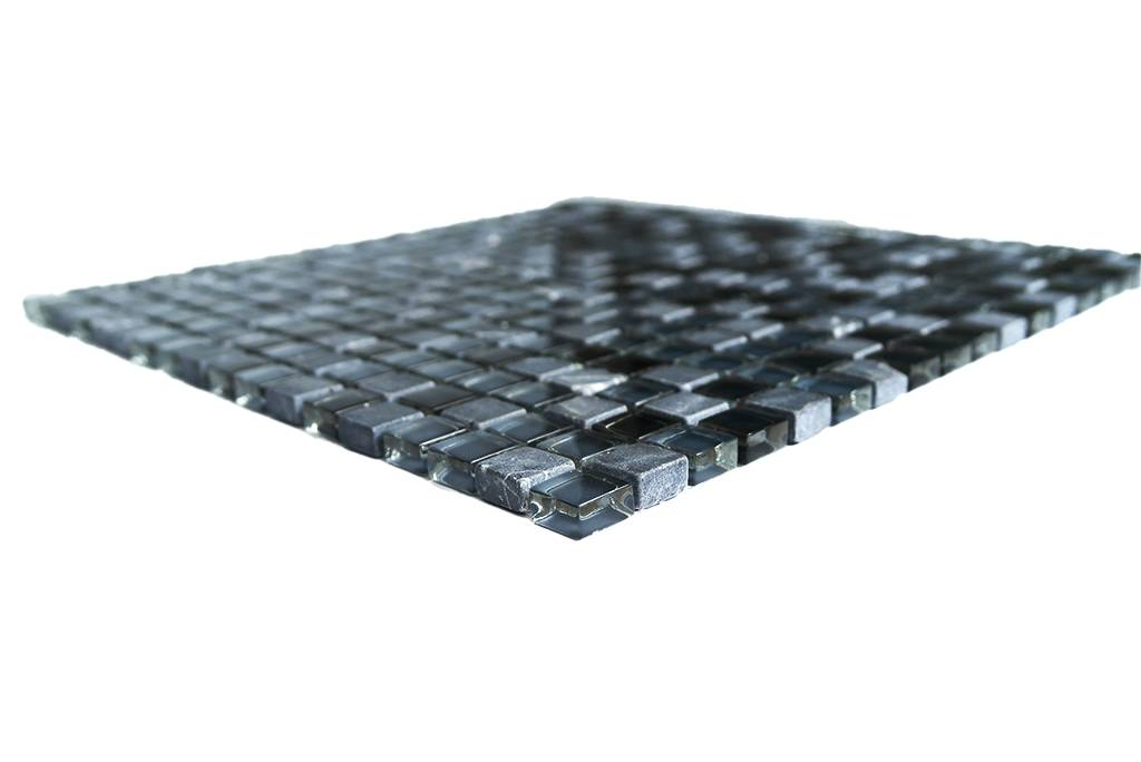 MOSAIKFLIESEN Glas Naturstein Schwarz Grau Mix G - Mosaik fliesen grau mix