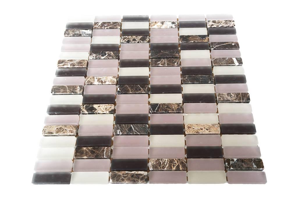 Mosaikfliesen Glas Naturstein Rosa Braun Mix G134 Mosaic