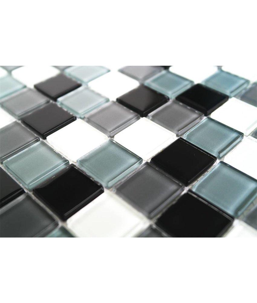 GLASMOSAIK FLIESEN - schwarz / weiß / grau mix - KR10