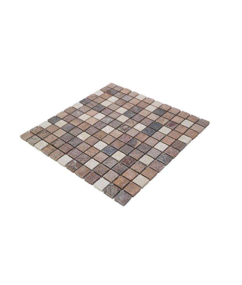 Naturstein Mosaikfliesen CM-7106 botticino/brown-mix