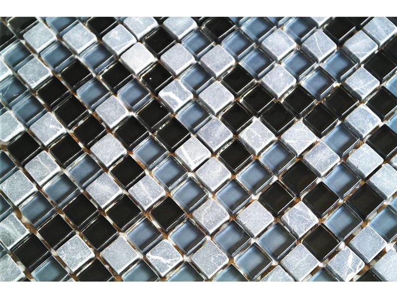 Mosaikfliesen grau  MOSAIKFLIESEN - Glas / Naturstein - schwarz / grau mix - G106 ...