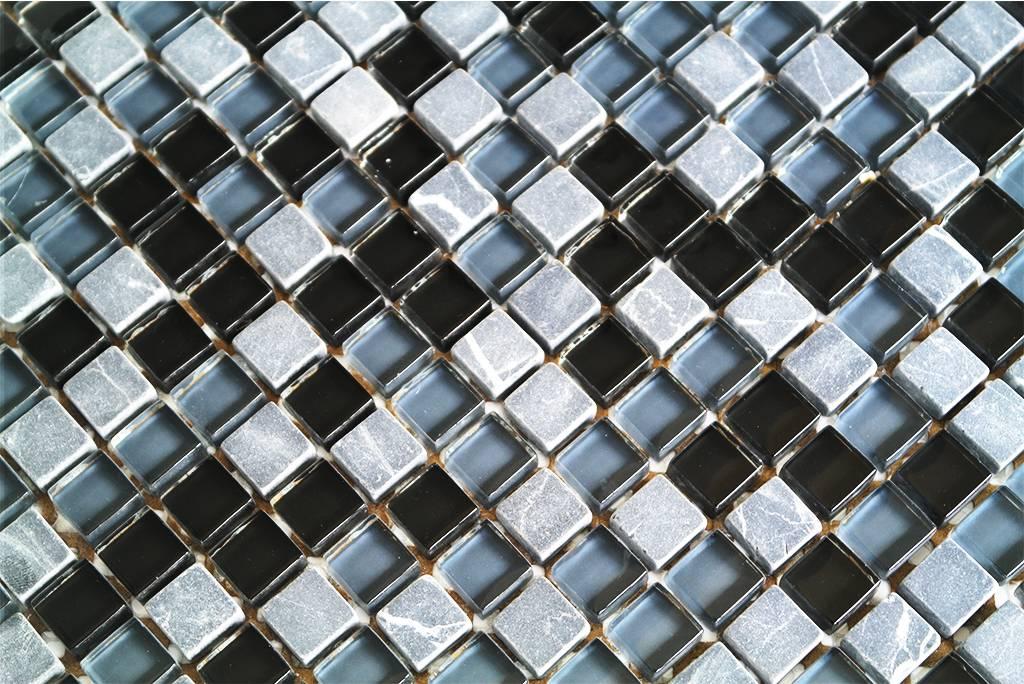 Mosaikfliesen Glas Naturstein Schwarz Grau Mix G106