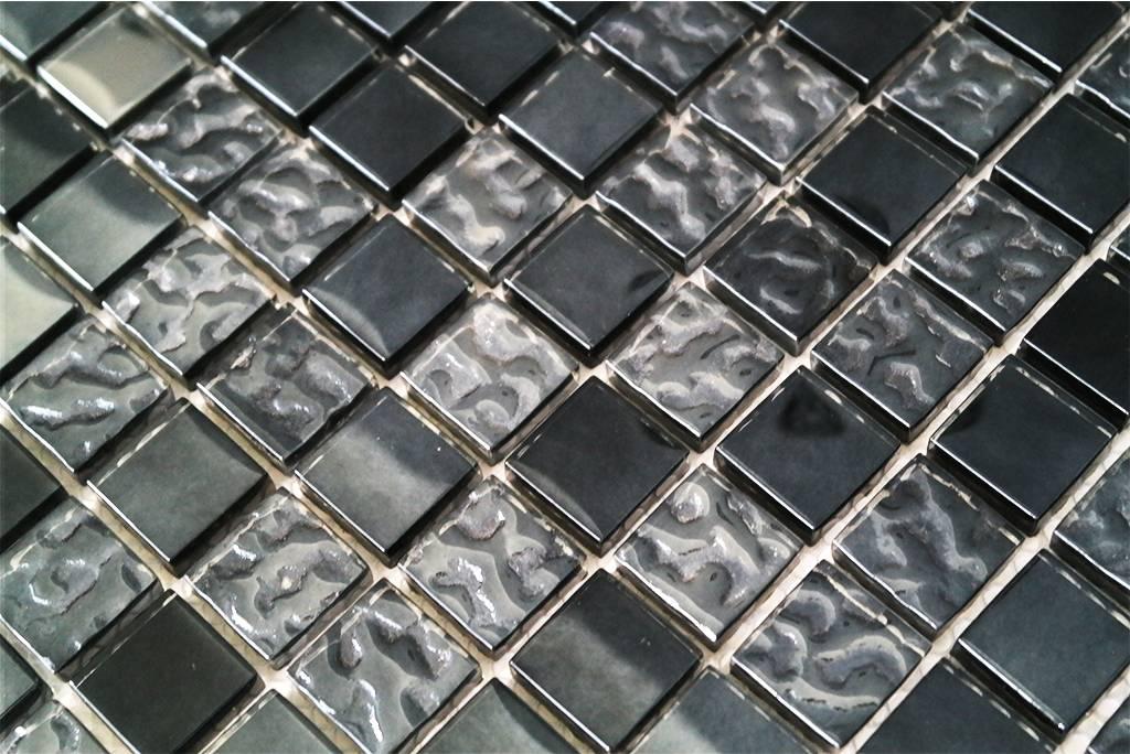 Glasmosaik Fliesen Grau Schwarz Perlmutt G2323 Mosaic Outlet
