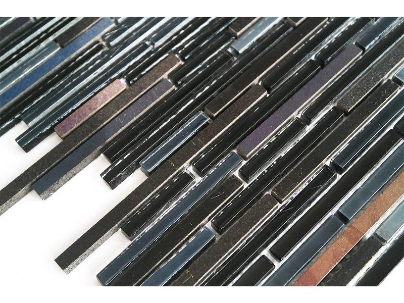 mosaikfliesen glas stein schwarz braun grau mix. Black Bedroom Furniture Sets. Home Design Ideas
