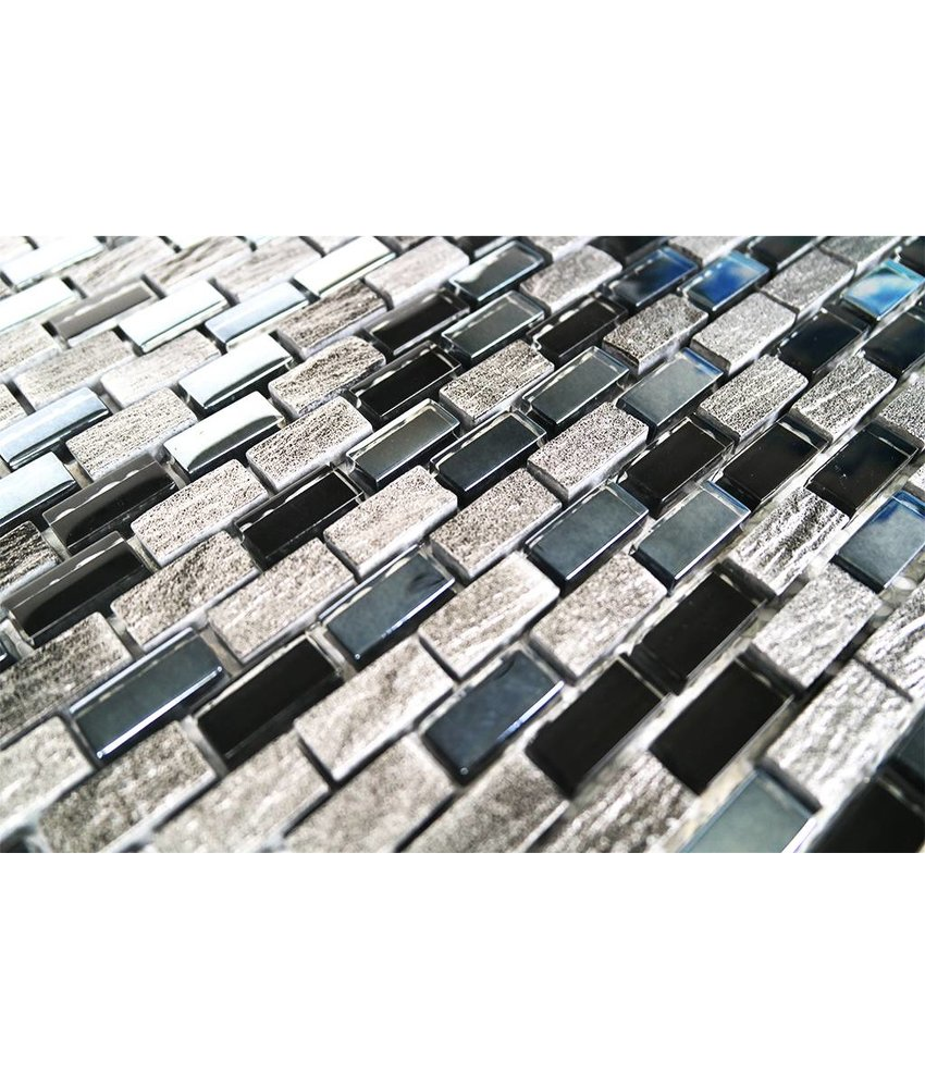 MOSAIKFLIESEN - Glas / Marmor - schwarz / grau / silber - MM3