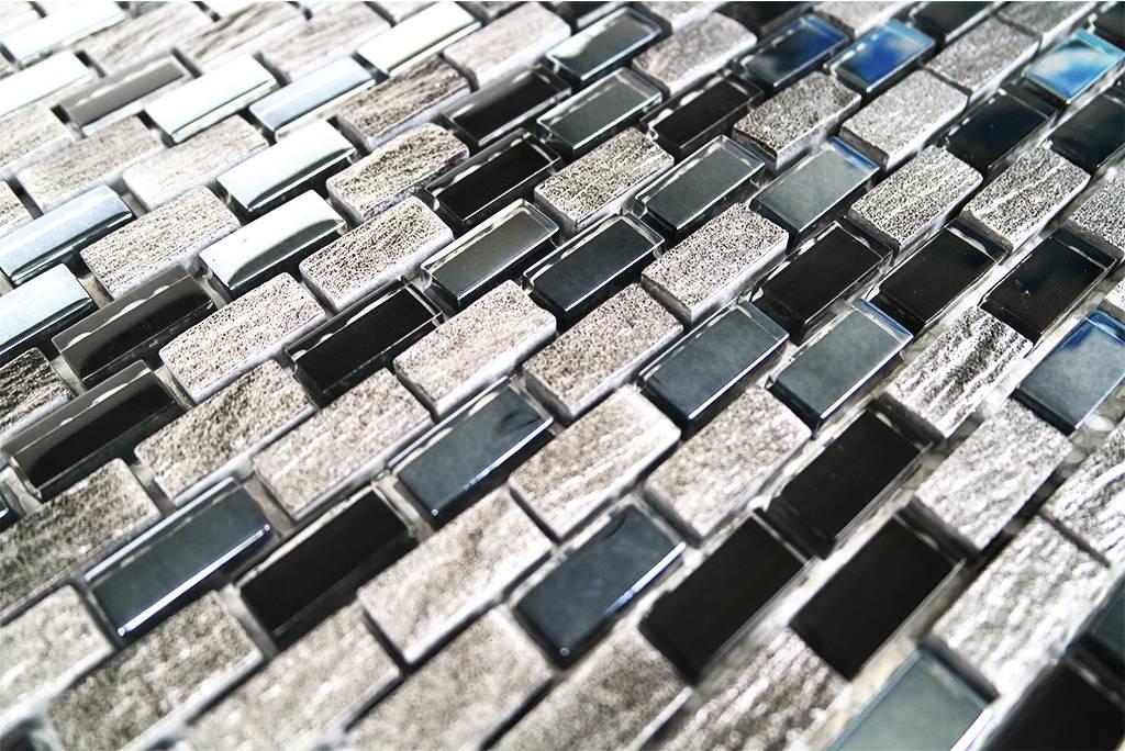 Mosaikfliesen Glas Marmor Schwarz Grau Silber Mm3