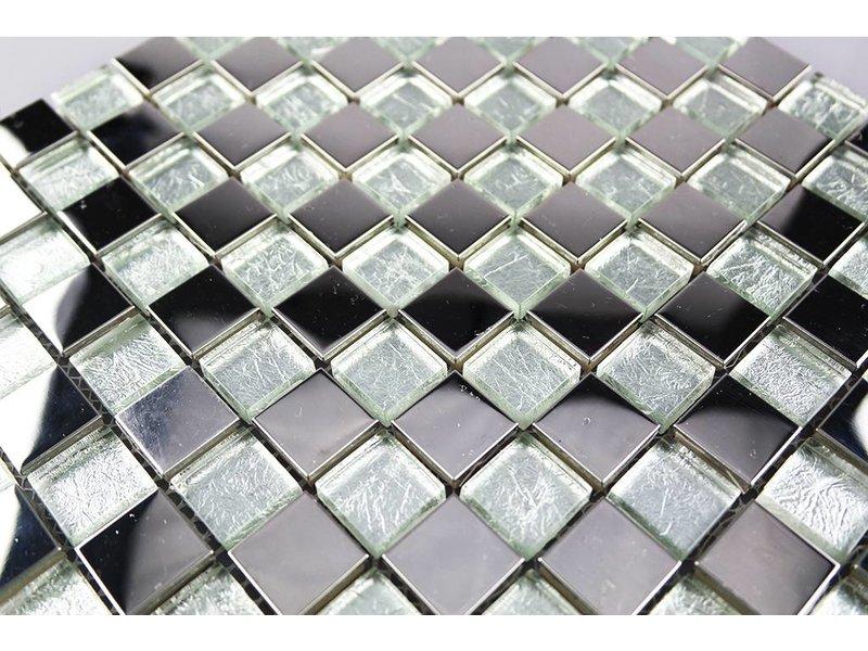 Mosaikfliesen glas edelstahl silber gs134 mosaic outlet - Mosaikfliesen silber ...