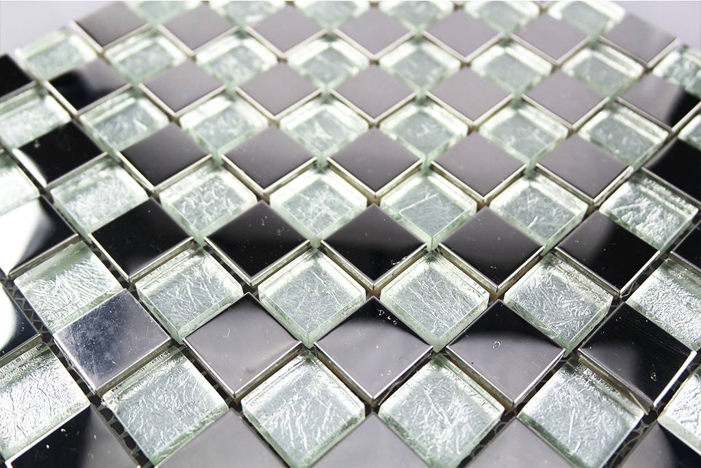 mosaikfliesen glas edelstahl silber gs134 mosaic. Black Bedroom Furniture Sets. Home Design Ideas
