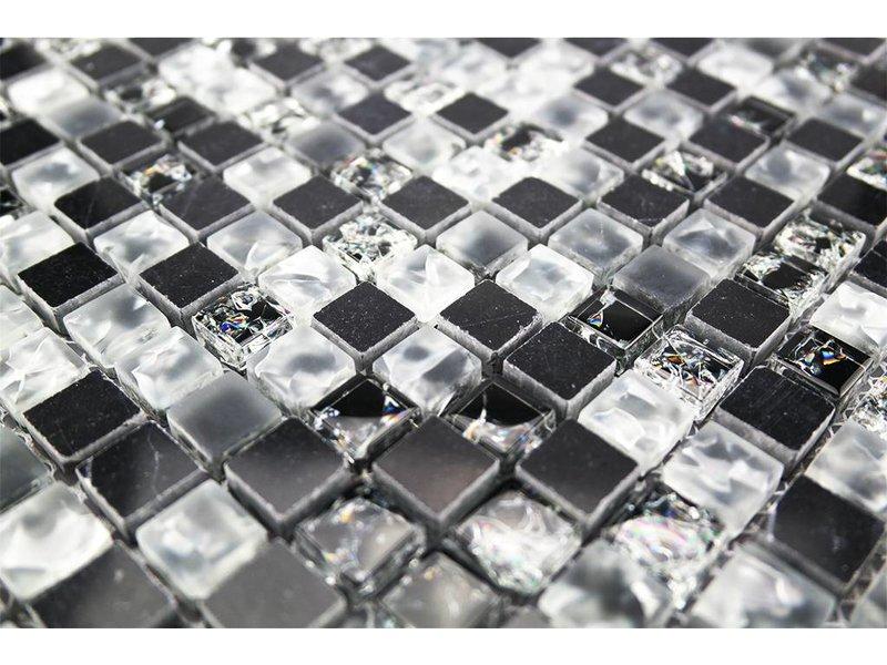 mosaikfliesen glas edelstahl naturstein schwarz wei sc4 mosaic outlet. Black Bedroom Furniture Sets. Home Design Ideas